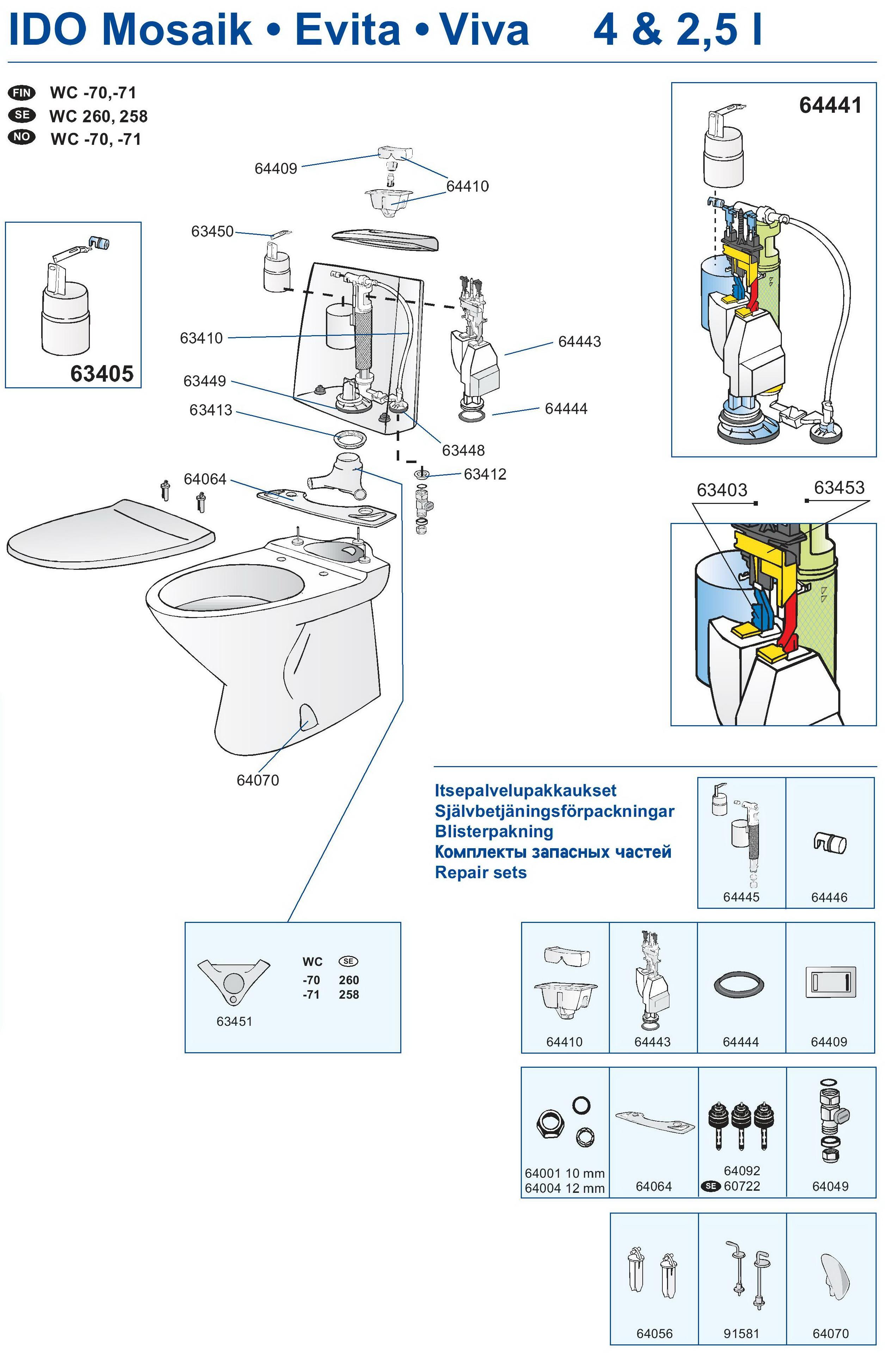 Схема бачка унитаза vitra